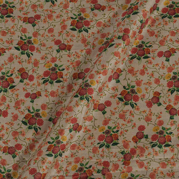 Poly Tussar Off White Colour 43 Inches Width Floral Print Fabric