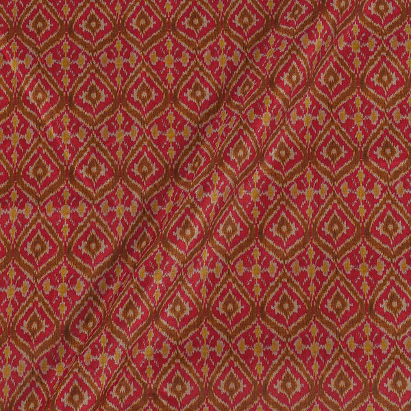 Poly Tussar Coral Colour 43 Inches Width Geometric Print Fabric