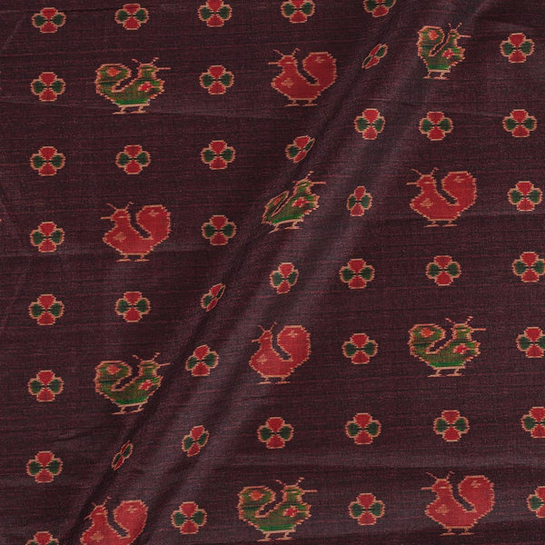 Poly Tussar Plum Colour 43 Inches Width Quirky Print Fabric