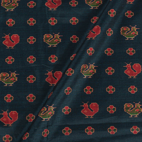 Poly Tussar Charcoal Green Colour 43 Inches Width Quirky Print Fabric