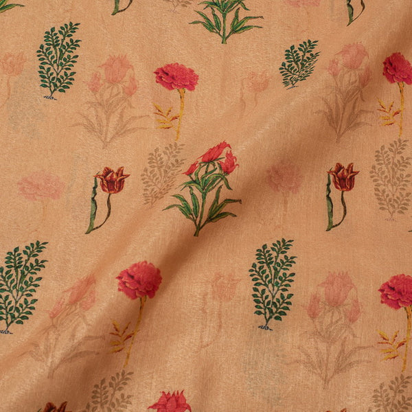 Beige Colour Floral butta Digital Print Poly Tussar Fabric