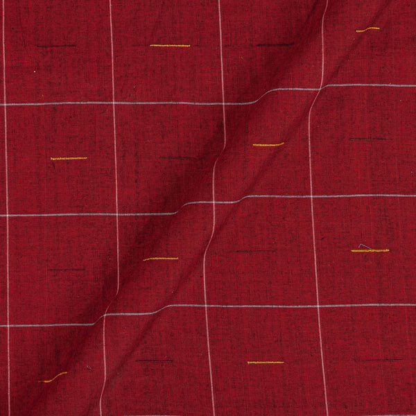 Mangalgiri Cotton Maroon Red Colour 41 Inches Width Geometric Pattern Jacquard Fabric