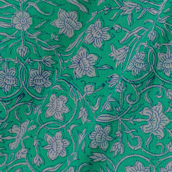 Mal Type Cotton Mint Colour Hand Block Floral Jaal Print 43 Inches Width Fabric