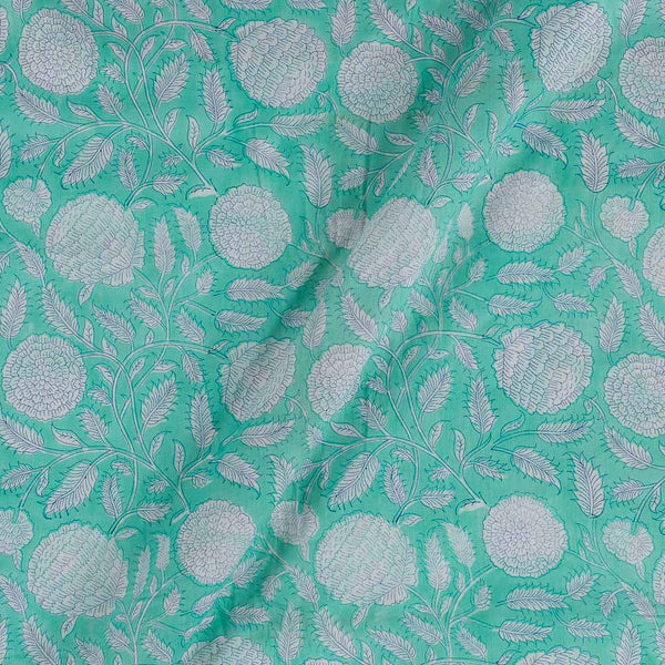 Mal Type Cotton Aqua Colour Hand Block Floral Jaal Print 43 Inches Width Fabric