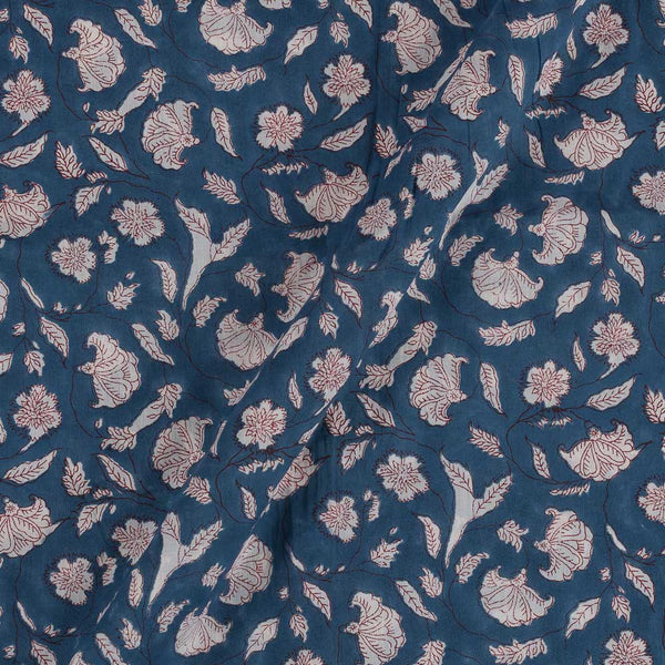 Mal Type Cotton Deep Blue Colour Hand Block Floral Jaal Print 43 Inches Width Fabric