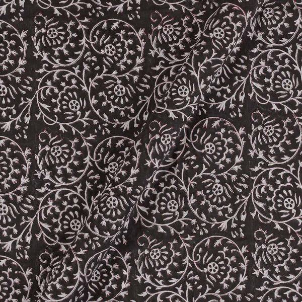 Mal Type Cotton Carbon Black Colour Hand Block Floral Jaal Print 43 Inches Width Fabric