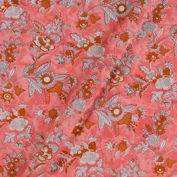 Mal Type Cotton Peach Colour Hand Block Floral Jaal Print 43 Inches Width Fabric