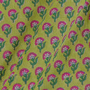 Mal Type Cotton Pale Green Colour Hand Block Floral Print 43 Inches Width Fabric