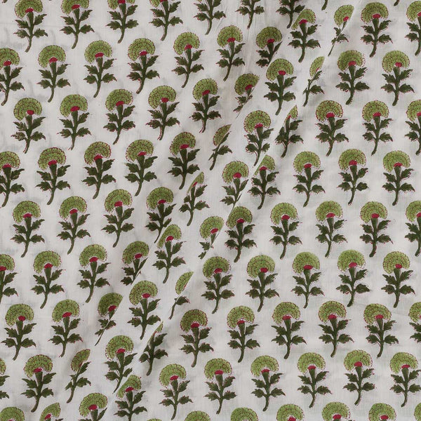 Mal Type Cotton Off White Colour Hand Block Floral Print 43 Inches Width Fabric