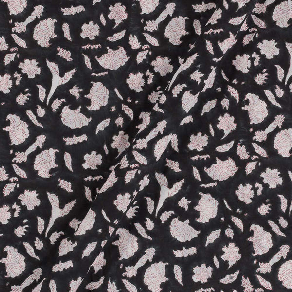 Mal Type Cotton Black Colour Hand Block Floral jaal Print 43 Inches Width Fabric