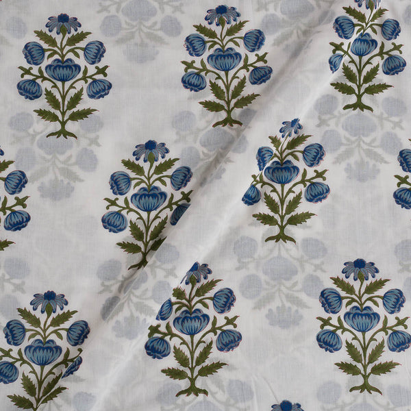 Mal Type Cotton Off White Colour Hand Block Floral jaal Print 43 Inches Width Fabric