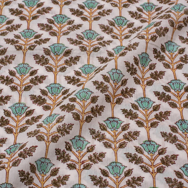 Mal Type Cotton White Mint Colour Hand Block Floral Jaal Print 43 Inches Width Fabric