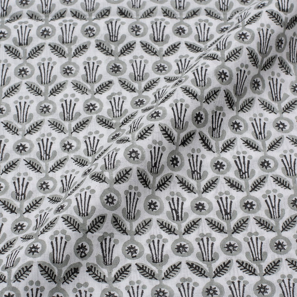 Mal Type Cotton White Grey Colour Hand Block Floral Print 43 Inches Width Fabric