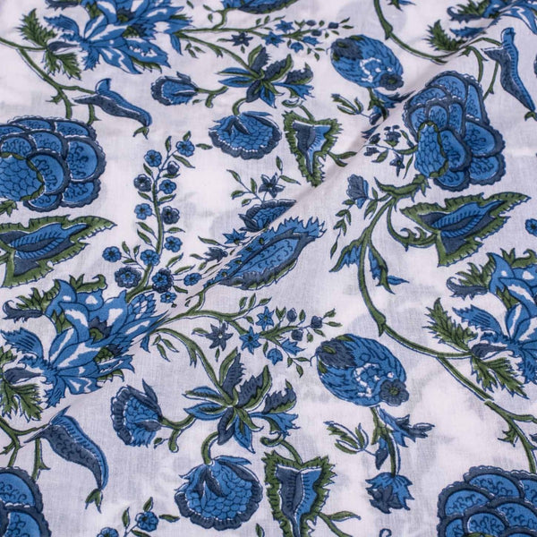 Mal Type CottonOff White Colour Hand Block Floral Jaal Print 43 Inches Width Fabric