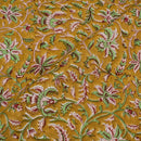 Cotton Mal Mustard Colour Floral Jaal Hand Block Print 43 Inches Width Fabric