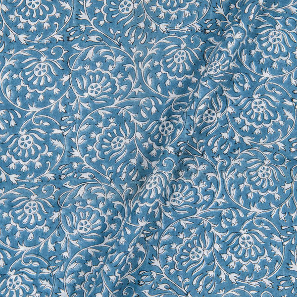 Cotton Mal Cadet Blue Colour Hand Block Floral Jaal Print 43 Inches Width Fabric