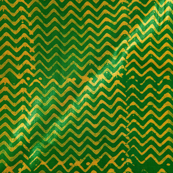 Mashru Gaji Batik Hand Block Print 45 inches Width Green Colour Fabric
