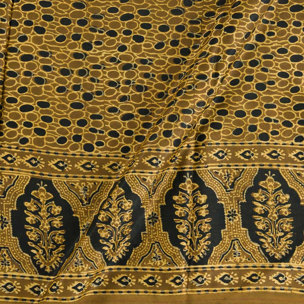 Soft Gaji Mustard Colour  Ajrakh Hand Block Print With Daman Border 50 Inches Width Fabric
