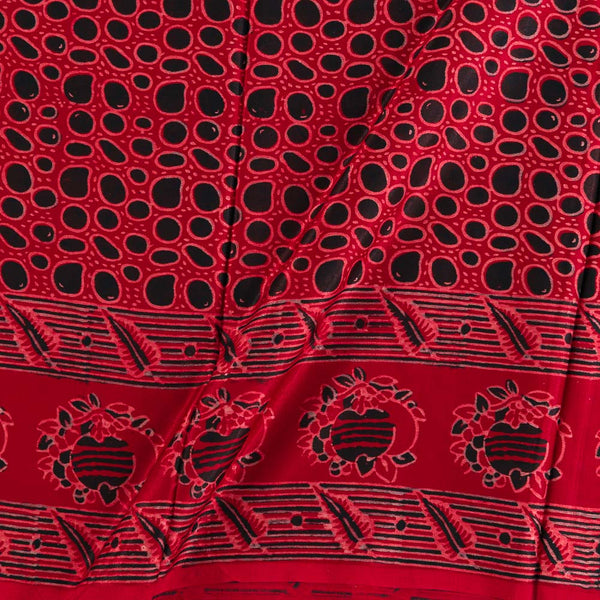 Soft Gaji Maroon Colour  Ajrakh Hand Block Print With Daman Border 50 Inches Width Fabric