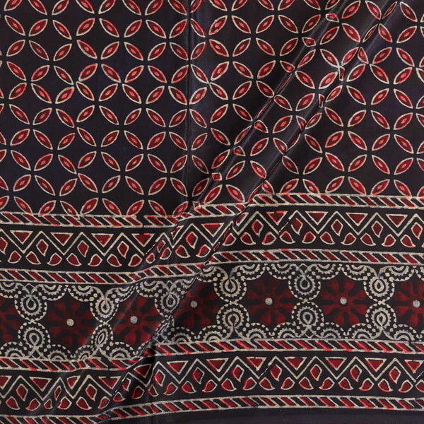 Soft Gaji Black Colour  Ajrakh Hand Block Print With Daman Border 50 Inches Width Fabric