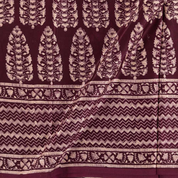 Soft Gaji Deep Purple Colour  Ajrakh Hand Block Print With Daman Border 50 Inches Width Fabric