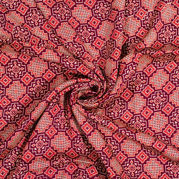 Plum Colour Natural Hand Block Print Modal Fabric