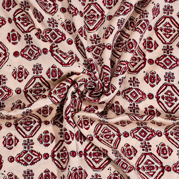 Off White Colour Natural Hand Block Print Modal Fabric