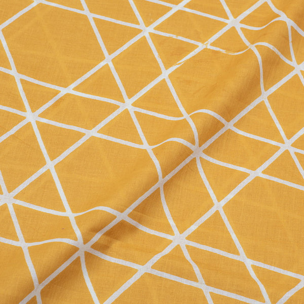 Mustard Colour Abstract Print Soft Cotton Fabric