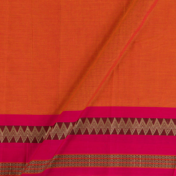 Mercerised Cotton Orange Colour Two Tone 45 inches Width With Two Side Ethnic Peacock Print Gold Border Fabric for Sarees and Kurtis