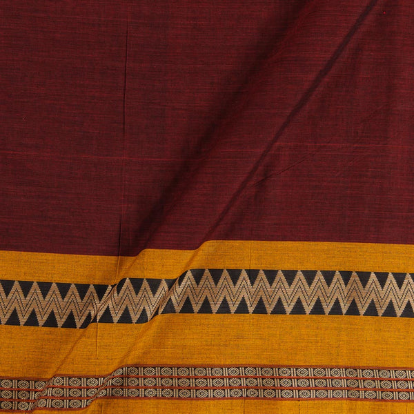 Mercerised Cotton Maroon Colour 45 inches Width With Two Side Ethnic Gold Border Fabric for Sarees and Kurtis