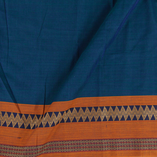 Mercerised Cotton Teal Two Tone 45 inches Width With Two Side Ethnic Gold Border Fabric for Sarees and Kurtis