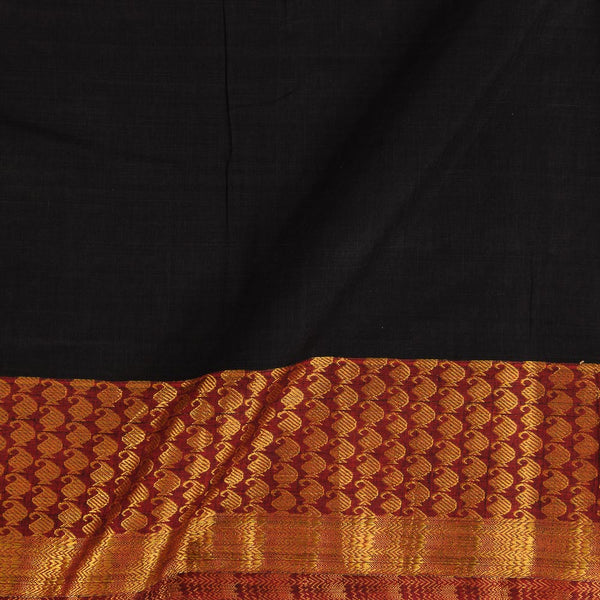 Mercerised Cotton Black Colour 45 inches Width With Two Side Ethnic Gold Border Fabric for Sarees and Kurtis