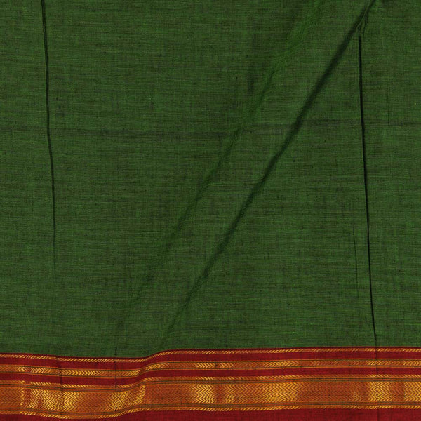 Mercerised Cotton Fern Green Colour Two Side Temple Gold Border Fabric for Sarees and Kurtis