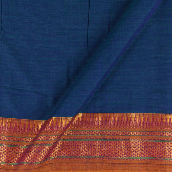 Mercerised Cotton Teal Blue Two Tone 45 inches Width With Two Side Ethnic Gold Border Fabric for Sarees and Kurtis