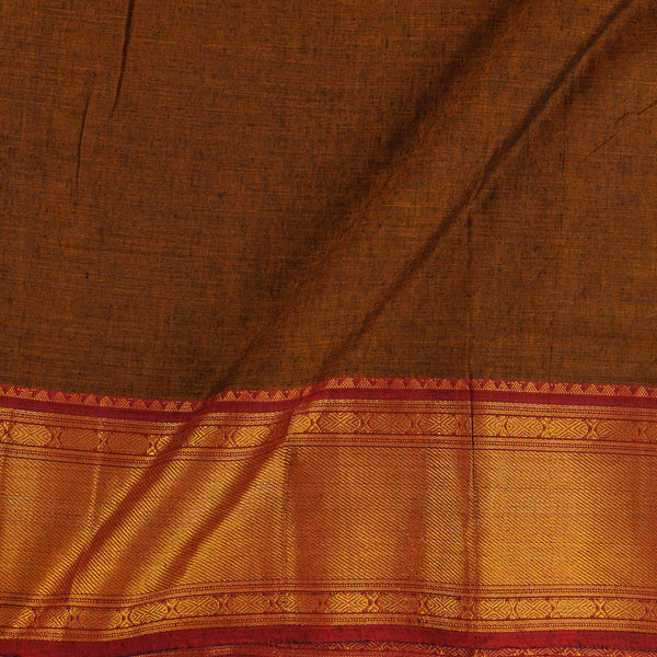 Mercerised Cotton Rust Brown Colour 45 inches Width With Two Side Ethnic Gold Border Fabric for Sarees and Kurtis