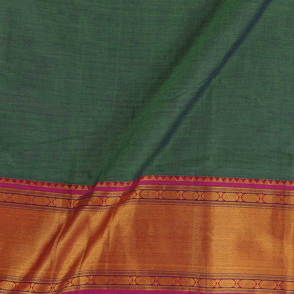 Mercerised Cotton Green To Purple Two Tone 45 inches Width With Two Side Ethnic Gold Border Fabric for Sarees and Kurtis
