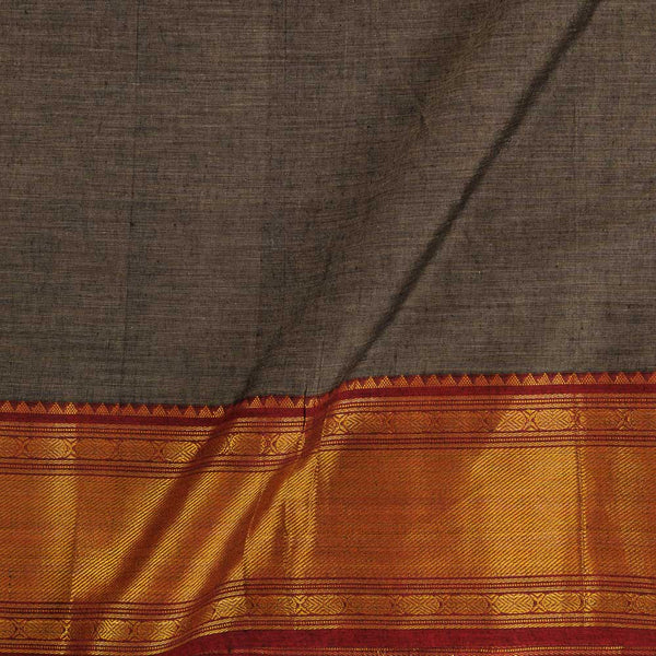 Mercerised Cotton Cedar Colour 45 inches Width With Two Side Ethnic Gold Border Fabric for Sarees and Kurtis