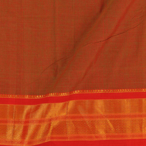 Mercerised Cotton Rust Two Tone 45 inches Width With Two Side Ethnic Gold Border Fabric for Sarees and Kurtis