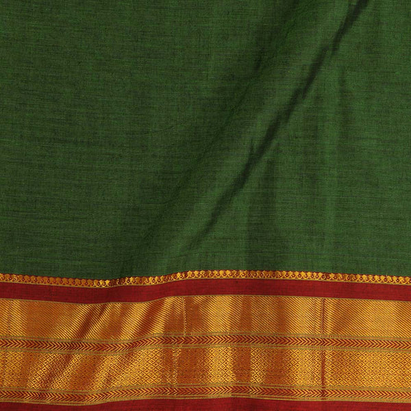 Mercerised Cotton Acid Green Colour 45 inches Width With Two Side Ethnic Gold Border Fabric for Sarees and Kurtis