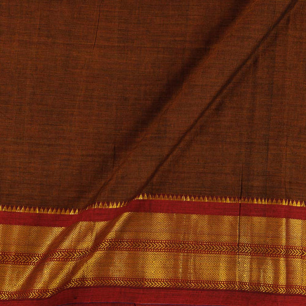 Mercerised Cotton Rust Colour 45 inches Width With Two Side Ethnic Gold Border Fabric for Sarees and Kurtis