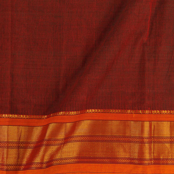 Mercerised Cotton Rust Red Colour 45 inches Width With Two Side Ethnic Gold Border Fabric for Sarees and Kurtis