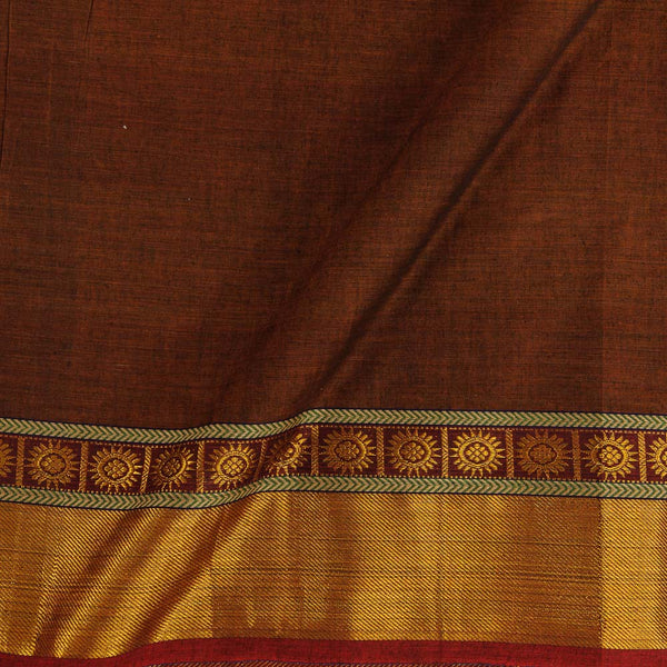 Mercerised Cotton Brown Colour 45 inches Width With Two Side Ethnic Gold Border Fabric for Sarees and Kurtis