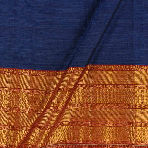 Mercerised Cotton Navy Blue Colour 45 inches Width With Two Side Ethnic Gold Border Fabric for Sarees and Kurtis