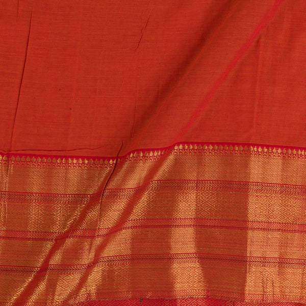 Mercerised Cotton Orange  Two Tone 45 inches Width With Two Side Ethnic Gold Border Fabric for Sarees and Kurtis