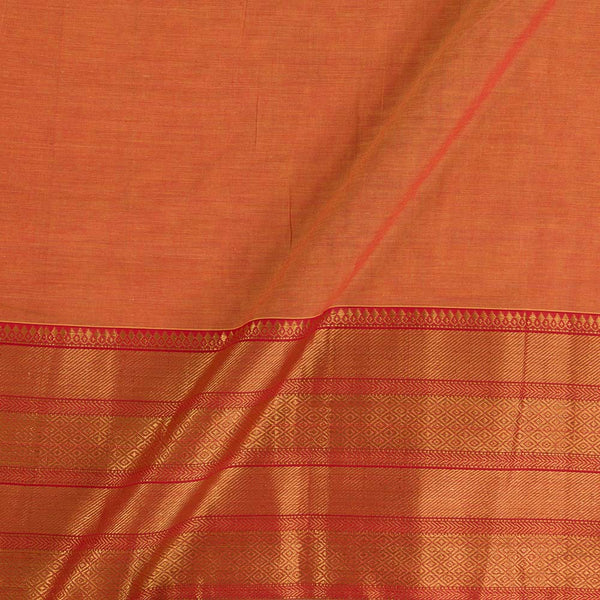 Mercerised Cotton Golden Orange Colour 45 inches Width With Two Side Ethnic Gold Border Fabric for Sarees and Kurtis