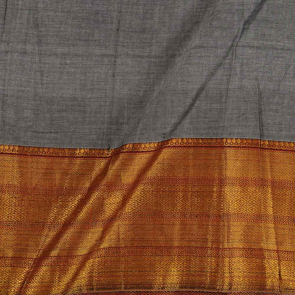 Mercerised Cotton Steel Grey Colour 45 inches Width With Two Side Ethnic Gold Border Fabric for Sarees and Kurtis