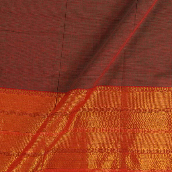 Mercerised Cotton Red Green Two Tone 45 inches Width With Two Side Ethnic Gold Border Fabric for Sarees and Kurtis