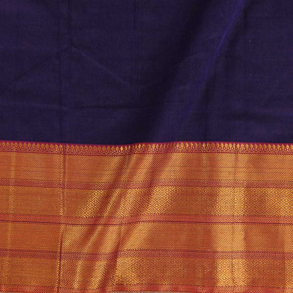 Mercerised Cotton Deep Purple Colour 45 inches Width With Two Side Ethnic Gold Border Fabric for Sarees and Kurtis