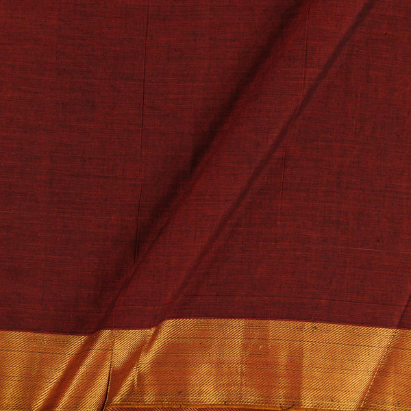 Mercerised Cotton Maroon 45 inches Width With Two Side Ethnic Gold Border Fabric for Sarees and Kurtis