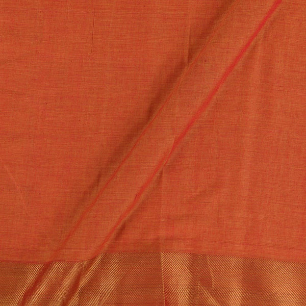 Mercerised Cotton Rust Orange Colour 45 inches Width With Two Side Ethnic Gold Border Fabric for Sarees and KurtisMercerised Cotton Rust Orange Colour 45 inches Width With Two Side Ethnic Gold Border Fabric for Sarees and Kurtis